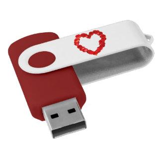 Forma del corazón del pétalo color de rosa pen drive giratorio USB 2.0