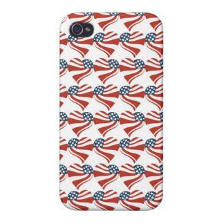 Forma del corazón y el modelo de la bandera americ iPhone 4/4S fundas