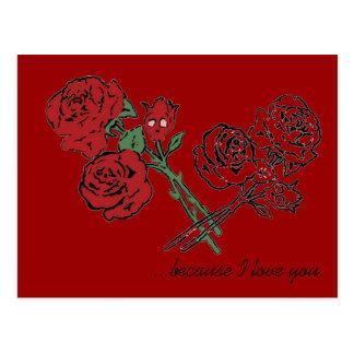 Forma del cráneo del rosa rojo tarjeta postal