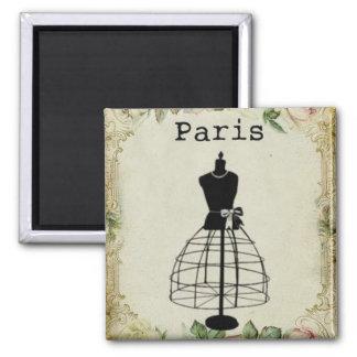 Forma del vestido de la moda de París del vintage Imán Cuadrado