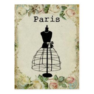 Forma del vestido de la moda de París del vintage Postales