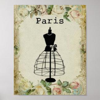 Forma del vestido de la moda de París del vintage Póster