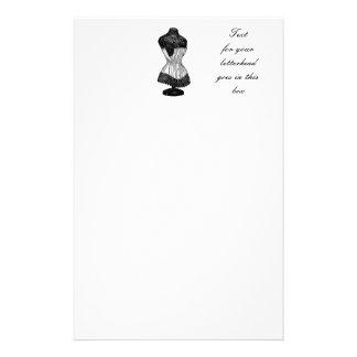 Forma del vestido del corsé del vintage papeleria personalizada