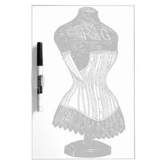 Forma del vestido del corsé del vintage tableros blancos
