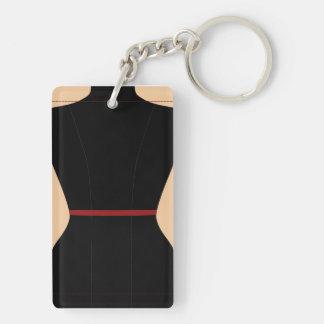 Forma del vestido llavero rectangular acrílico a doble cara