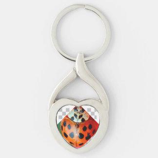 Forma: El corazón torcido personaliza esta Llavero Plateado En Forma De Corazón