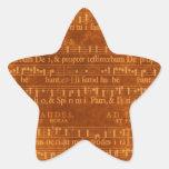 Forma medieval de la estrella del manuscrito de la pegatina forma de estrella personalizadas