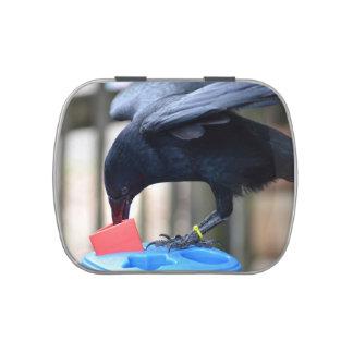 forma negra del cuervo que clasifica el juguete de jarrones de caramelos