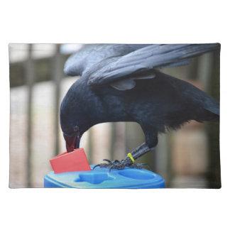 forma negra del cuervo que clasifica el juguete de manteles individuales