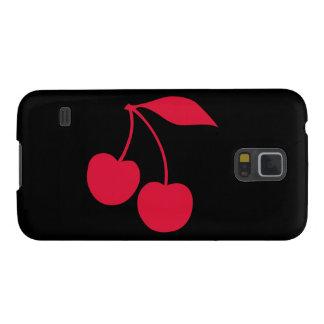 Forma negra y roja de las cerezas carcasas para galaxy s5