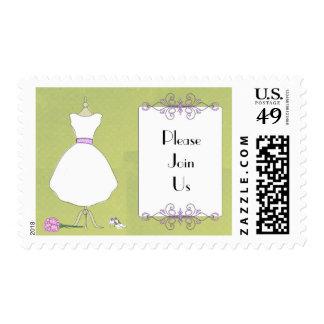 Forma nupcial de encargo del vestido de la sello postal