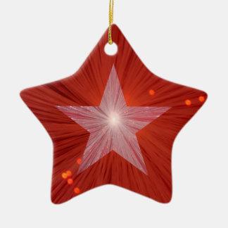 Forma roja de la estrella del ornamento de la ornaments para arbol de navidad