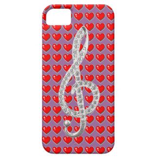 Forma roja del corazón con el gclef de la música iPhone 5 carcasa