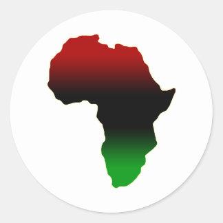 Forma roja, negra y verde de África Pegatina Redonda
