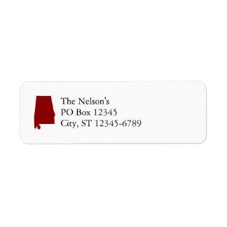 Forma rojo oscuro de Alabama Etiquetas De Remite