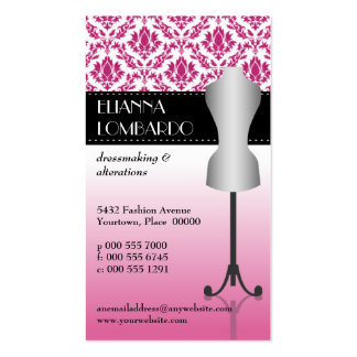 Forma rosada del vestido de la moda del damasco tarjetas de visita
