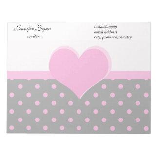 Forma rosada linda, dulce del corazón, lunares bloc de papel