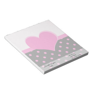 Forma rosada linda, dulce del corazón, lunares blocs de notas