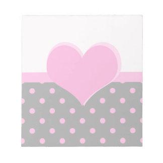 Forma rosada linda, dulce del corazón, lunares libreta para notas