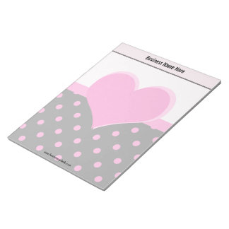 Forma rosada linda, dulce del corazón, lunares blocs de papel
