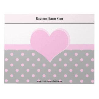 Forma rosada linda, dulce del corazón, lunares bloc de notas
