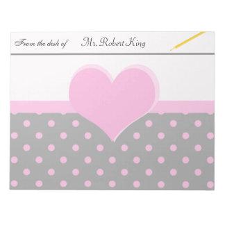 Forma rosada linda, dulce del corazón, lunares libretas para notas
