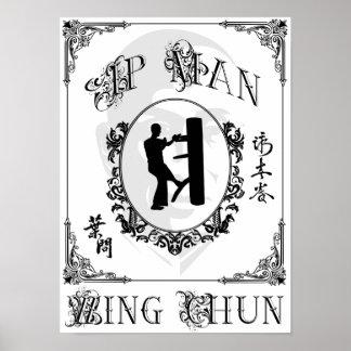 Forma simulada de madera - ala Chun del hombre del Posters