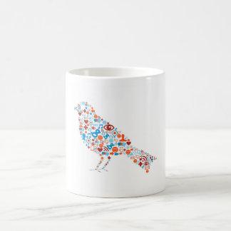 Forma social del pájaro tazas de café