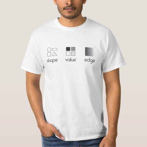 Forma, valor, camiseta del borde playera
