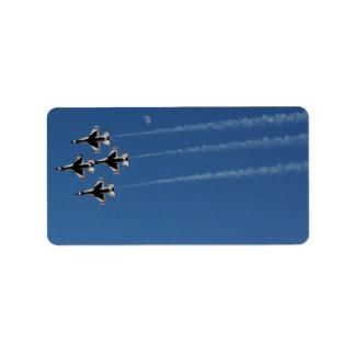 Formación de diamante de los Thunderbirds F-16 Etiqueta De Dirección