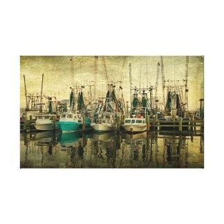 Formación del barco del camarón impresión en tela