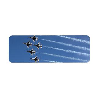 Formación del delta de los Thunderbirds F-16 Etiquetas De Remite