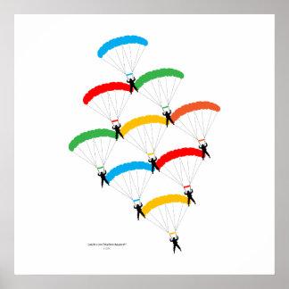 Formación del paracaídas póster