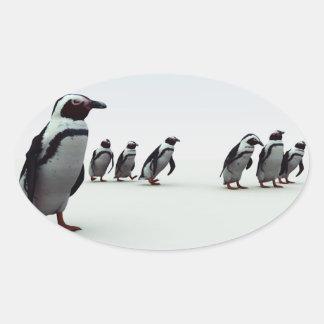 Formación del pingüino pegatina ovalada