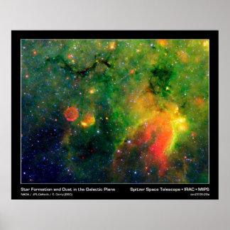 Formación estelar y nebulosa IRDC G11.11-0.11 de l Póster