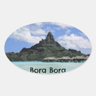 Formación ideal del atolón de Bora Bora Tahití de Pegatina Ovalada