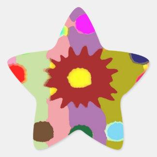 Formaciones alegres del girasol de los arenadores pegatina en forma de estrella