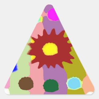 Formaciones alegres del girasol de los arenadores pegatina triangular