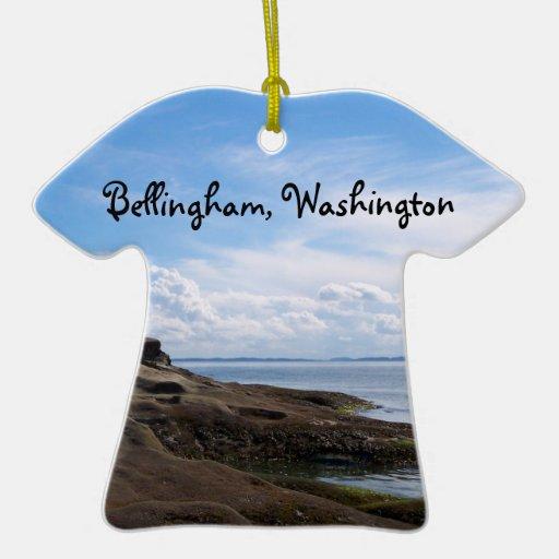Formaciones de roca de la bahía de Bellingham Adorno De Cerámica En Forma De Playera