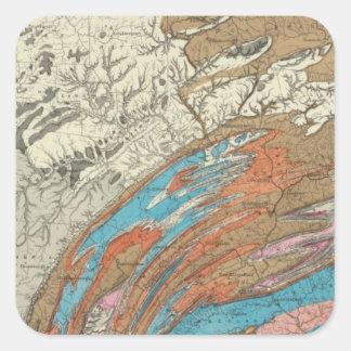 Formaciones geológicas de Penn Pegatina Cuadrada