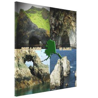 Formaciones y cuevas de roca en el collage de Alas Impresión En Lona