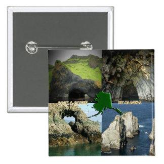 Formaciones y cuevas de roca en el collage de Alas Pin Cuadrado