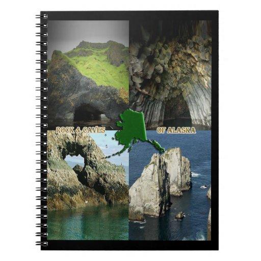 Formaciones y cuevas de roca en el collage de notebook