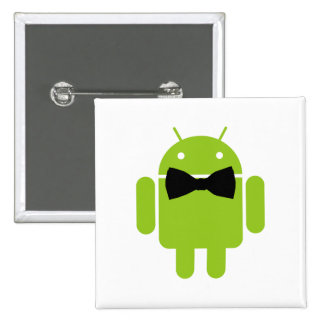 Formal Android Robot Icon Graphic Pinback Button