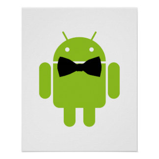 Formal Atire Green Android Robot Poster