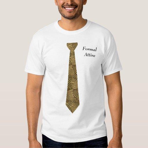 Formal Attire Gold Swirls Fake NeckTie T-Shirt