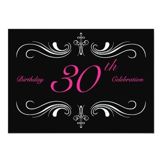 Formal Black 30th Birthday Invitations