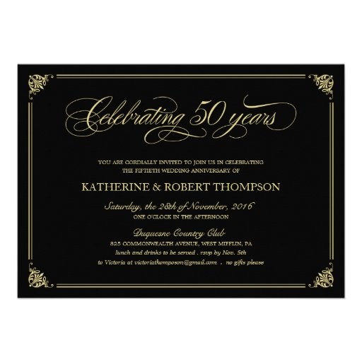 Formal Black and Gold 50th Anniversary Invitations