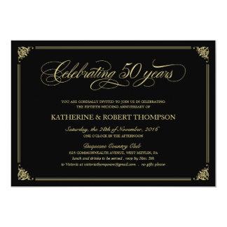 "Formal Black and Gold 50th Anniversary Invitations 5"" X 7"" Invitation Card"