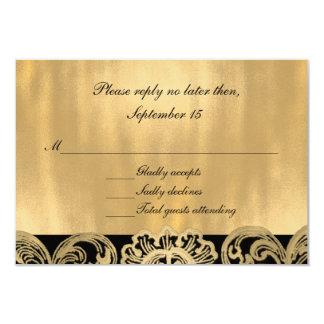 Formal Black and Gold Wedding RSVP Card